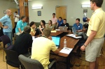 Marketing group discussing branding and strategy.